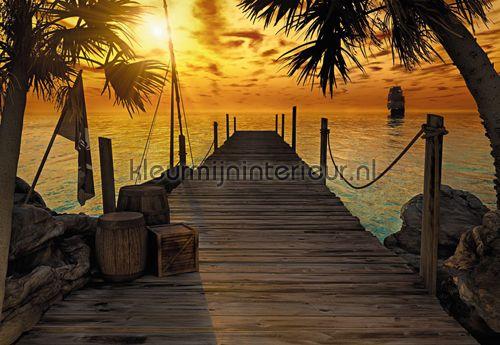fotobehang zon zee strand