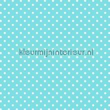 Turquoise met witte stippen papel de parede Esta home Beb�s Crian�as