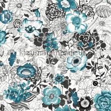 Bloemen vintage turquoise
