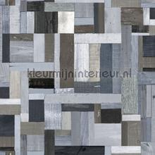 Sloophout vintage blauw grijs papel de parede Esta home madeira