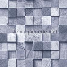 Kops houten balkjes blauw papel de parede Esta home madeira