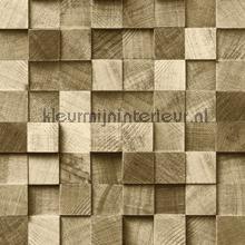 Kops houten balkjes donkerbeige papel de parede Esta home madeira