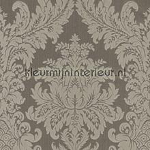 Textiele damask vergrijsd bruin papel pintado Rasch barroco