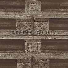 Pallets grijsbruin papel de parede Rasch madeira