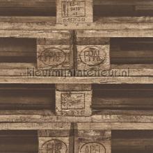 Pallets bruin papel de parede Rasch madeira