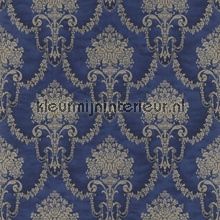 Floral bouquet damask royal blue papel pintado Rasch barroco