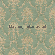 Floral bouquet damask green papel pintado Rasch barroco