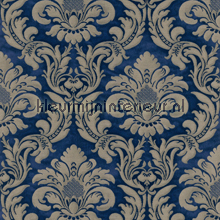 Traditional damask royal blue papel pintado Rasch barroco