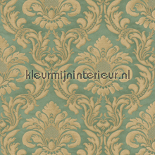 Traditional damask green papel pintado Rasch barroco