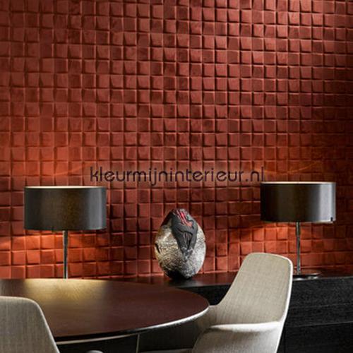 Select 3D blok suedelook rood-bruin