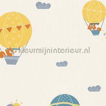 Vos in luchtballon geel blauw papel de parede AS Creation Beb�s Crian�as