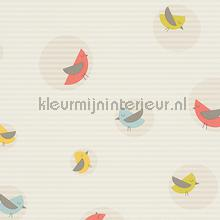 Vogels in cirkels met gelineerde achterg papel de parede AS Creation Beb�s Crian�as