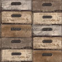 Gestapelde kistjes bruin-grijs papel de parede Dutch Wallcoverings madeira