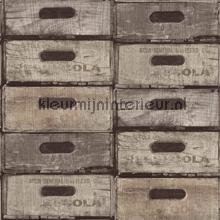 Gestapelde kistjes grijstinten papel de parede Dutch Wallcoverings madeira