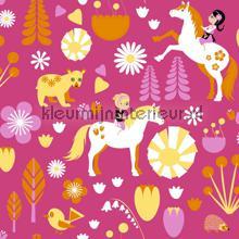 Kevatlaulu - pink papel de parede Vallila Beb�s Crian�as