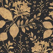 Bloemen behang behang - Behang zwart en goud ...