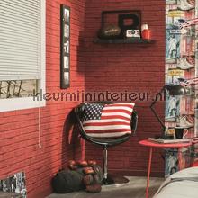 Rode bakstenen stenen behang - Rode bakstenen lounge ...