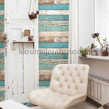 Wooden strokes turquoise papel de parede Dutch Wallcoverings madeira