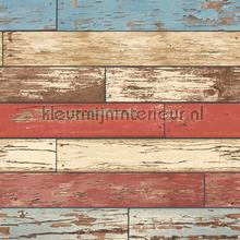 Wooden strokes red blue papel de parede Dutch Wallcoverings madeira