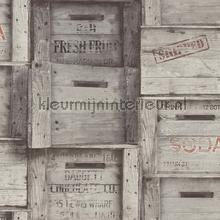 Wooden boxes grey papel de parede Dutch Wallcoverings madeira