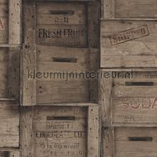 Wooden boxes greyish brown papel de parede Dutch Wallcoverings madeira