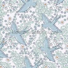 Zwaluw patroon wit blauw