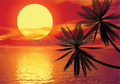 Behang Kinderkamer Strand : Romantic sunset Zon - Zee - Strand ...