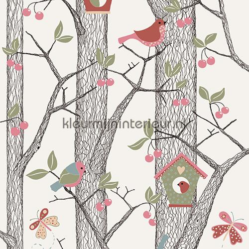 Baby Behang Boom.Bomen Vogels Vlinders Baby Peuter Behang