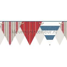 Stripes pennant border red