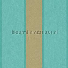 Royal fleece streep goud turquoise