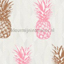 Ananas behang rose kopergoud