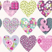 Patchwork hearts - purple