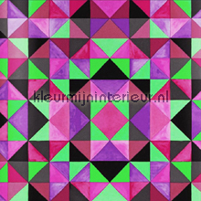 Bold cubism pink green wallpaper