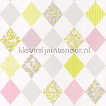 Patchwork ruiten lime rose