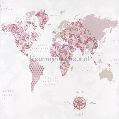 Fabulous Wereldkaart behang roze bloemen bloemen #DG43