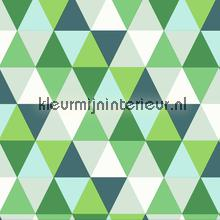 Colourcollage piramides green Grafisch - Abstract