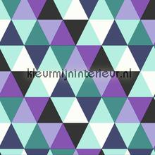 Colourcollage piramides purple aqua Grafisch - Abstract