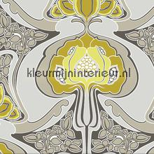 Funky art nouveau pattern yellow