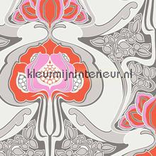 Funky art nouveau pattern red