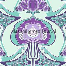 Funky art nouveau pattern aqua Modern - Abstract