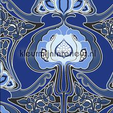 Funky art nouveau pattern blue