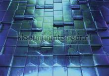 Lifted tiles in greenish blue