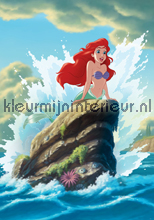 Little mermaid Ariel among the waves