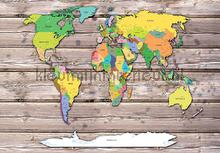 Worldmap on wood