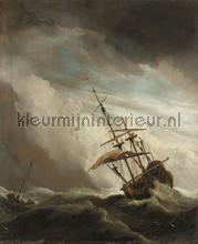 Ship on the high seas caught by a squall the gust
